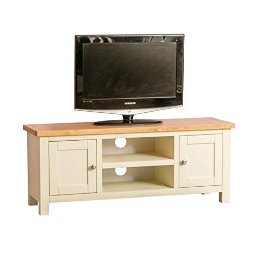 Farrow Cream Large TV Stand | 120 cm TV Unit Country Painted Solid Wood Television Cabinet Suitable up to 54 inches for Living Room or Bedroom, Fully Assembled