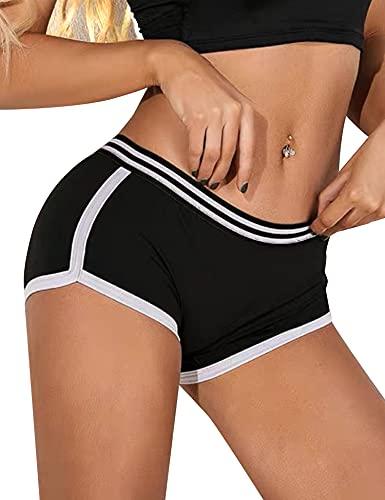 Akalnny Short Deportivo Mujer Pantalones Cortos Cintura Elástica De Cintura Alta Verano Chandal De Yoga Trotar Correr Bailando Ciclismo Gimnasio Negro L