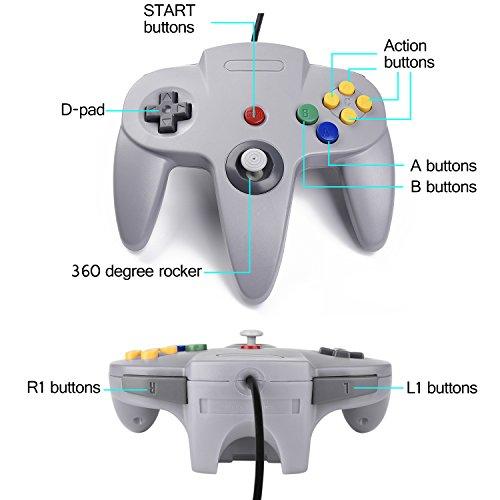 suily USB Controller für N64 Spiele Classic USB Gamepad Joystick mit Kabel für Windows PC Mac Raspberry Pi(2 Pack, Grau)
