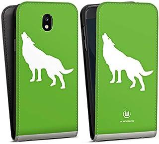 DeinDesign Flip Case kompatibel mit Samsung Galaxy J5 2017 Tasche Hülle VFL Wolfsburg Offizielles Lizenzprodukt Wolf