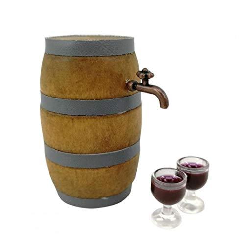 Suministros Miniatura 1set Rojo del Barril De Vino Conjunto Bodega Decoración Pub Bar Party Decor con Grifo Y Vidrio De Vino
