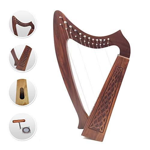 12 Strings Harp Irish Celtic Highland Solid Rosewood Naturl shape Nylon Lever Tuning Key Extra Set included 37' inches tall Roseback