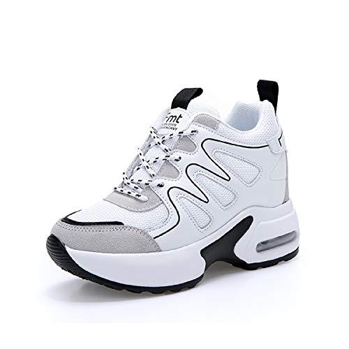 AONEGOLD Sneakers Zeppa Donna Scarpe da Ginnastica Sportive Fitness Scarpe con Zeppa Interna Tacco 7 cm(Bianco,36 EU)