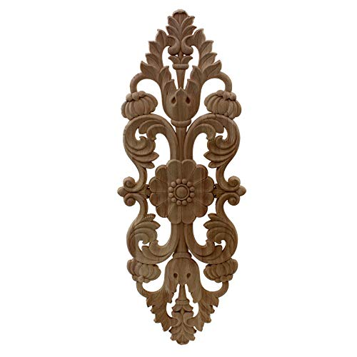 wkd-thvb Antiguo Apliques De Madera Decorativos Para Muebles Decoración Puerta Gabinete Irregular Molduras De Madera Flor Talla Estatuilla 38cmX14cm
