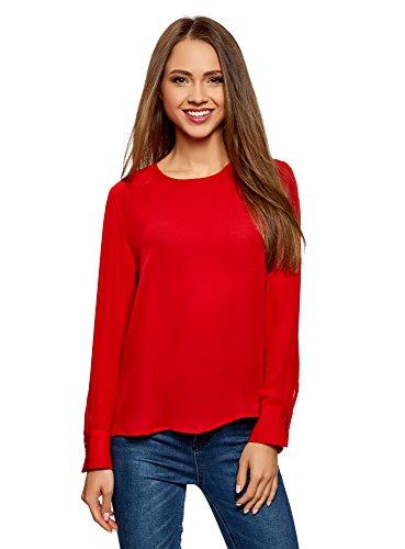 oodji Ultra Mujer Blusa Ancha con Escote Gota en la Espalda, Rojo, ES 40 / M
