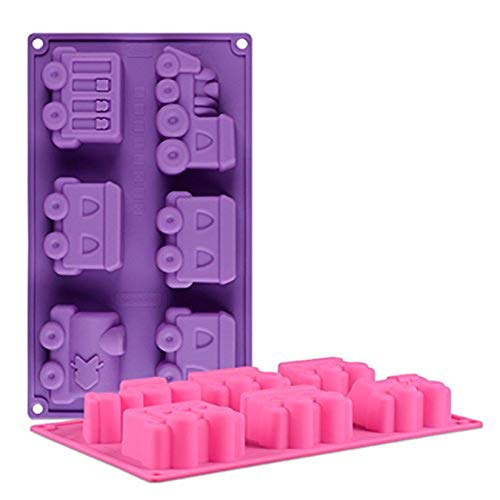 FantasyDay® 2 Stück Premium Silikon Backform/Muffinform für Muffins, Cupcakes, Kuchen, Pudding, Eiswürfel und Gelee - Zug Auto backform für eindrucksvolle Kreationen, hochwertige Silikon-Kuchenform