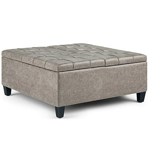 SIMPLIHOME Harrison 36 inch Wide Square Coffee Table Lift Top Storage Ottoman, Cocktail Footrest Stool in Upholstered Distressed Grey Taupe Tufted Faux Air Leather for the Living Room, Traditional