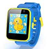 AGPTEK Smartwatch Niños, 8GB Reloj Inteligente de MP3 Música 1.54 Pantalla Táctil en Color con Llamada SOS Linterna Cámara MP3 Juegos Regalo para Navidad Cumpleaños, Azul