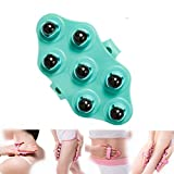 Hand-held Magnetic Bead Massager for Muscle Back Neck Joint Foot Shoulder Leg Pain Relief - Palm Shaped Massage Glove Full Body Massage Tool with Portable Design (Green)