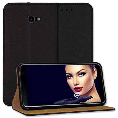 mtb more energy® Leder-Tasche Bookstyle für Samsung Galaxy J4 Plus, J4+ 2018 (SM-J415, 6.0'') - schwarz - Echtleder - Schutz Hülle Wallet Cover Hülle