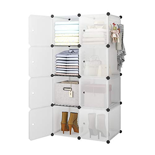 GEORGE&DANIS Portable Cube Storage Wardrobe Closet Armoire Plastic Dresser Bedroom Organizer, 14 inches Depth, 2x4 Tiers