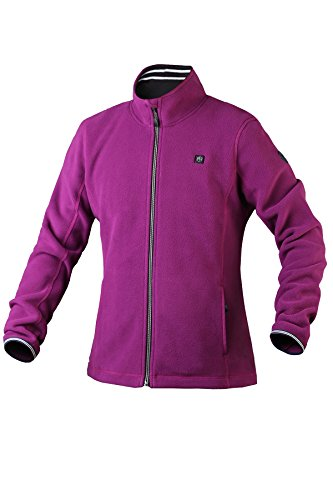 Pau1Hami1ton PJ-06 Damen Winterjacke beheizbare Heiz-Jacke beheizbare Softshell-Jacke Heat Jacket Hoodie Reissverschluss warm Jacke (5V / 2A or Higher Power Bank (L,Purple)