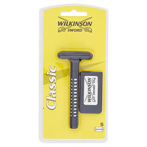 Wilkinson Sword Classic - Máquina de Afeitado Clásico Masculino + 5 Hojas de Afeitar de...