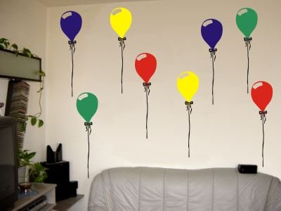 Wandtattoo / Wandaufkleber bunte Luftballons