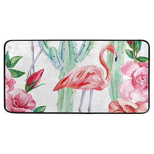 Alfombra de cocina, diseño de flamencos y rosas de cactus, diseño floral, antifatiga, antideslizante, suave, alfombra de baño, alfombra para decoración del hogar, 99 x 50 cm