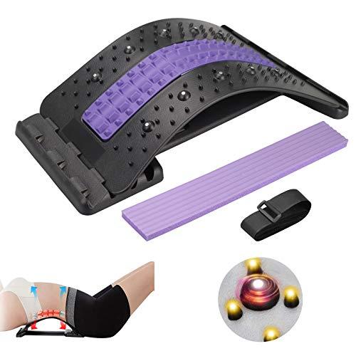 Karanice Back Stretcher Rückendehner Rückenstreckermit Magnetfeldtherapie Rückenmassage für Unter Ober Lendenwirbelsäule Vier höhenverstellbar Rückendehner zur Haltungskorrektur