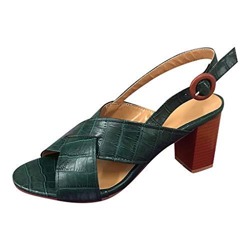 Kolylong® Damen Kreuz Riemchen Blockabsatz Sandalen Offener Zeh Fesselriemen Mittlerer Absatz Slingback Sandalen Süß Elegant Pumps Sommer Sandaletten