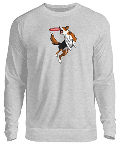 Disc Dog Agility Hundesport Hunde T-Shirt Frisbee Hund Geschenk - Unisex Pullover -L-Grau (Meliert)