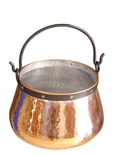 CopperGarden Kupferkessel 5 L mit Henkel - Hexenkessel I Robuster Kessel aus verzinntem Kupfer: Ideale Wärmeleitung I Lebensmittelechter Feuerkessel für Gulasch / Feuerzangenbowle uvm.