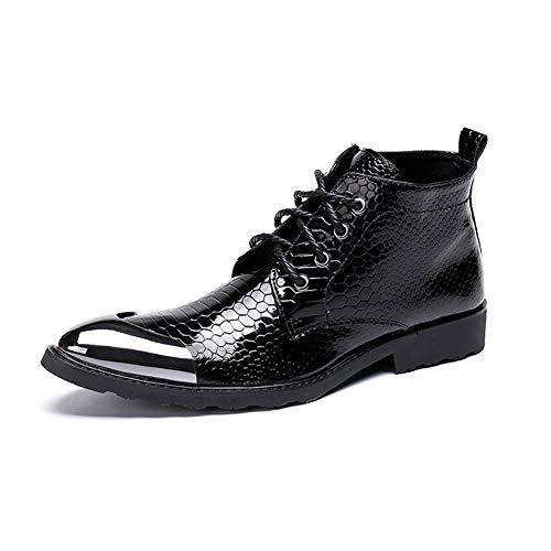 Story of life Bottines Pour Hommes En Cuir Véritable Mode Haut-Top Chaussures À La Mode Pointu Bottillons D'affaires À Lacets Martin Bottes Casual,Noir,38