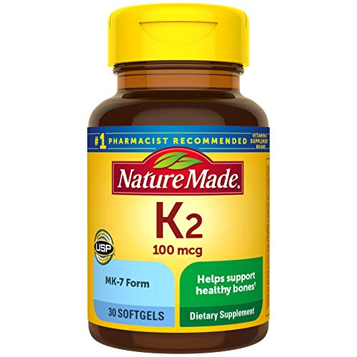 Nature Made Vitamin K2 100 mcg Softgels, 30 Count for Bone Health† (Packaging May Vary)