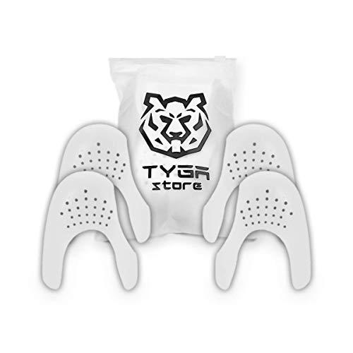 TYGA Store 2 Paar Sneaker Protektoren, Universal Knickschutz Schuhfaltenschutz verhindern Zehenfalten gegen Schuhfalten für Damen und Herren, Anti-Falten-Schilder, passend für EU 35-46 (Weiß)