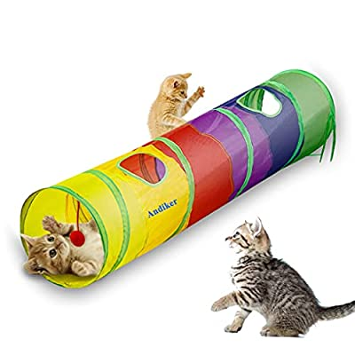 Andiker Cat Tunnel, Cat Tubes for Indoor Cats Collapsible Cat Play Toy for Puzzle Exercising Hiding Training and Running with a Red Fun Ball and 2 Holes (25&120cm) (Colorful) from Andiker