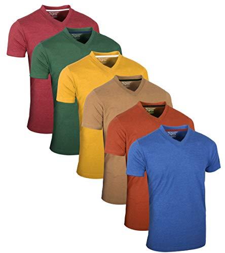 FULL TIME SPORTS Tech 4 - Pack de 6 camisetas de manga larga y cuello en V para hombre 6 Pack - Vino, verde, amarillo, mostaza, naranja y azul oscuro L