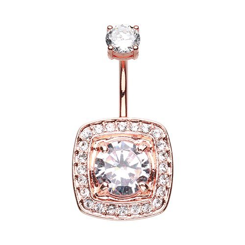 Rose Gold Grand Essentia 316L Surgical Steel Belly Button Ring
