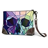 JHGFG Wristlet Handbag Lowpoly Colorful Geometric Skull Art Vector Leather Wristlet Clutch Wallet para Mujeres Cartera de Embrague para Mujeres Smartphone Wristlet PU