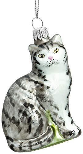 SIKORA BS705 Katze Christbaumschmuck Glas Figur Weihnachtsbaum Anhänger - Premium Line, Variante:grau getiegert