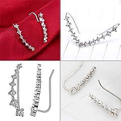 Cabet 7 Crystals Ear Cuffs Hoop Climber Sterling Silver Earrings Hypoallergenic Earring #4
