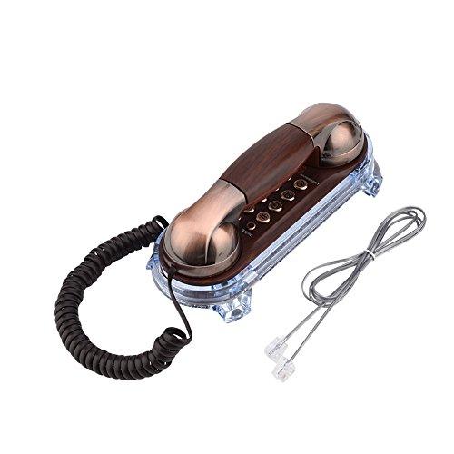 Gaeirt Teléfono montado en la Pared, teléfonos fijos con Cable para el hogar, teléfonos domésticos Retro con luz Inferior, teléfonos fijos Antiguos, teléfonos de Pared para el hogar(Cobre Rojo)
