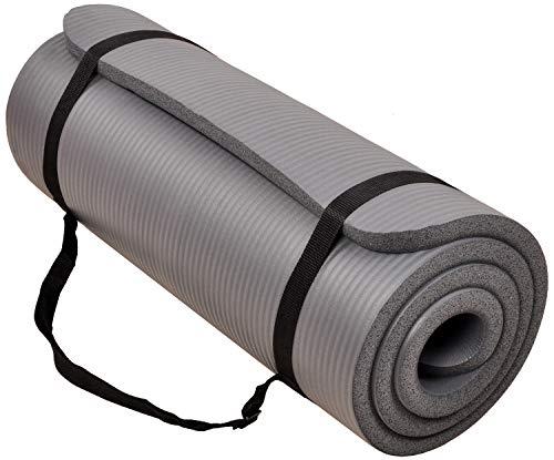 BalanceFrom GoCloud - Tappetino da yoga multiuso da 3,5 cm, extra spesso, ad alta densità, anti-strappo, con tracolla per il trasporto, colore: grigio