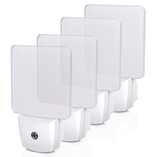 DEWENWILS Plug-in LED Night Light with Light Sensor, Auto Dusk-to-Dawn Sensor, Bright Nightlights for Bathroom, Hallway, Bedroom, Living Room, Flat Clear Design, Daylight, UL Listed, 4Pack