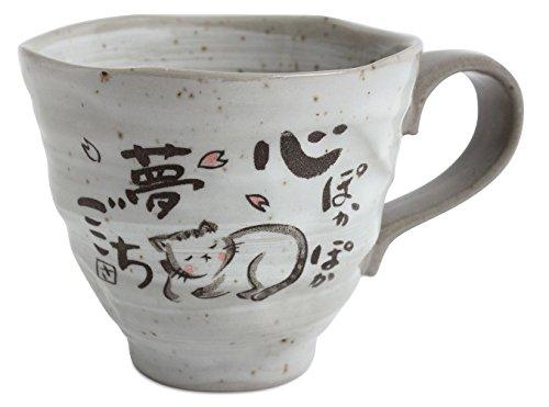 Mino ware KSM003 Tasse aus japanischer Keramik, schlafende Katze, Grau