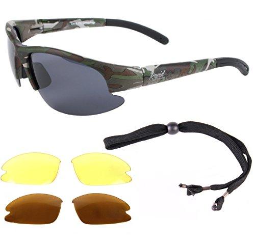 Rapid Eyewear GAFAS DE SOL POLARIZADAS DE CAMUFLAJE Catch Pro para hombre y mujer, con lentes intercambiables. Ideales para pescar, cazar, y como gafas para uso militares. Protección UV (UV400)