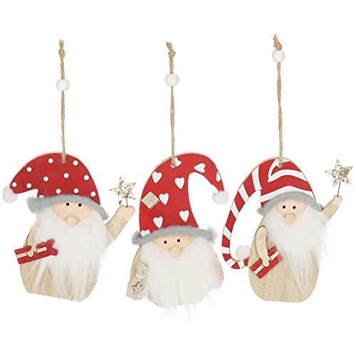com-four® 3X Hängedeko Zwerg mit weißem Bart und roter Weihnachtsmütze - kleine Wichtel aus Holz zum Anhängen - 13 cm [Auswahl variiert] (03 Stück - 13cm)