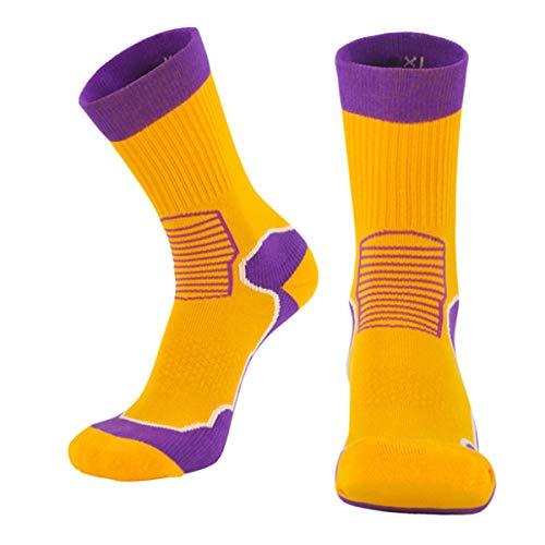 Calcetines deportivos para hombre 3 pares unisex de algodón antideslizante para baloncesto, bicicleta, trekking, funcional y transpirable, amarillo, S / M: 38-41-Code
