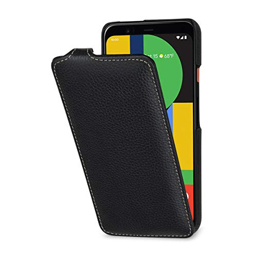 StilGut Hülle kompatibel mit Google Pixel 4 Tasche aus Leder, vertikales Flip-Hülle, schwarz