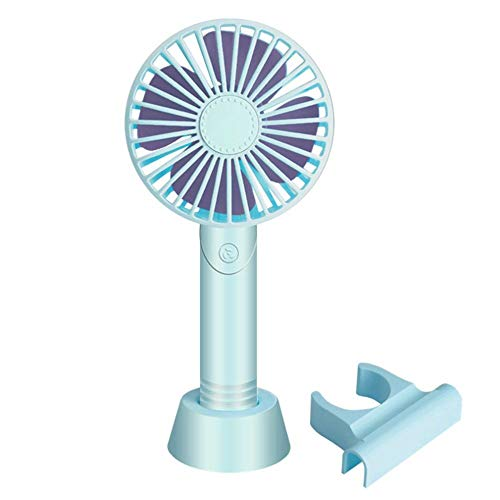 Ventilatore Portatile,Ventilador Portátil Usb Ventilador Recargable Para Niños Con Soporte 3 Velocidades Silencioso Pequeño Ventilador De Refrigeración Azul Personal Como Hogar, Exterior Y Viajes