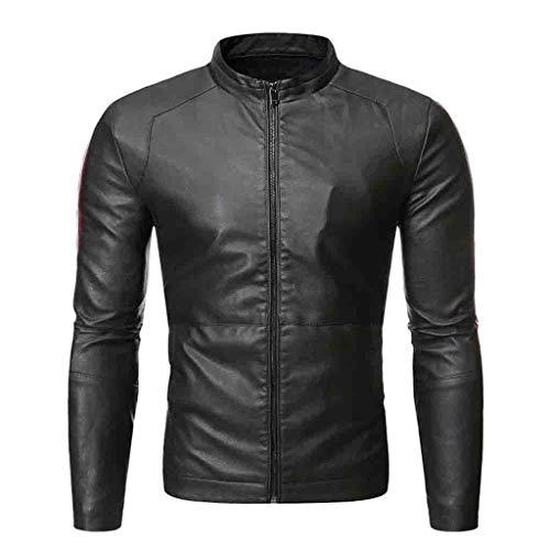 Yowablo Herren Langarm Jacke Oversize Feste Farben für Business Freizeit Outwear Coat Lederjacke Herbst & Winter Biker Motorrad Reißverschluss Casual (XXL,4- Grün)