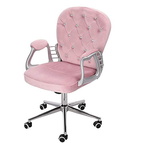 Pink Velvet Office Chair, ergonomische bureaustoel Executive Chair Computer Stoel, for Home Office Baliestoel Instelbare 360 ​​° draaistoel