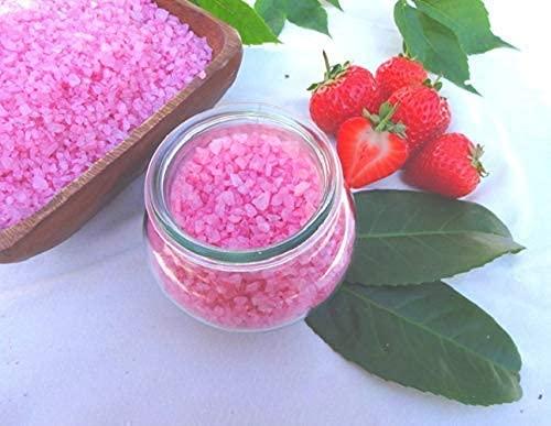 Badesalz Erdbeer-Champagner im Schmuck WECK-Glas, ohne Palmöl, von kleine Auszeit Manufaktur