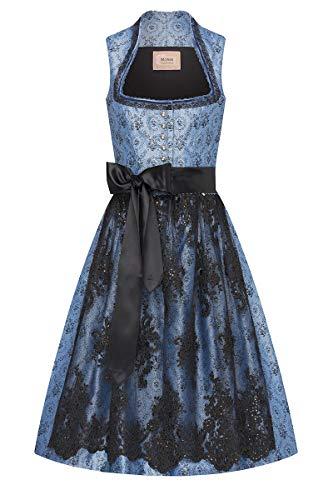 Moser Midi Dirndl 65 cm hellblau mit Tüllschürze schwarz Larinia 008910, floral gemustertes Kleid, Schürze mit glamourösen Blumenstickereien, Pailletten 38