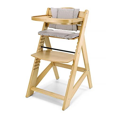 Moby-System Woody Mitwachsender Kinderhochstuhl, Hochstuhl für Kinder, Höhenverstellbar, mit Essbrett und Kissen, 3-Punkt-Sicherheitsgurt, Massivholz, Erle