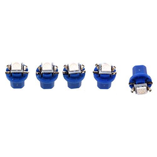 SODIAL 5X T5 B8.5D 5050 SMD Coche LED Luz indicadora Calibre Cuentamillas Cuadro de instrumentos lateral Lampara Bombilla (Azul)