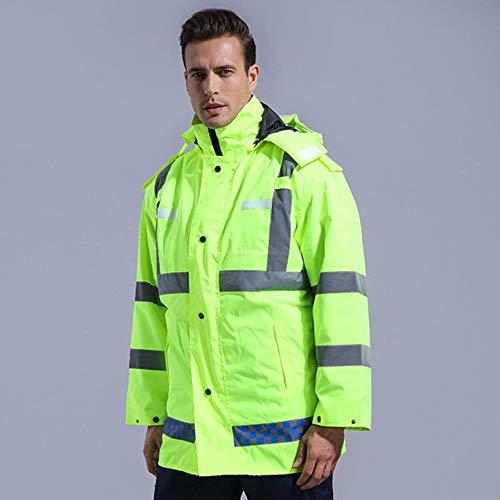 Vest Reflecterende Veiligheid Reflecterende Werk Kleding Fluorescerende Veiligheid Jas Regenjas Met Hood Jas Waterdichte Winter Warm Outdoor Man Vrouwen Uniforms M Yellow4