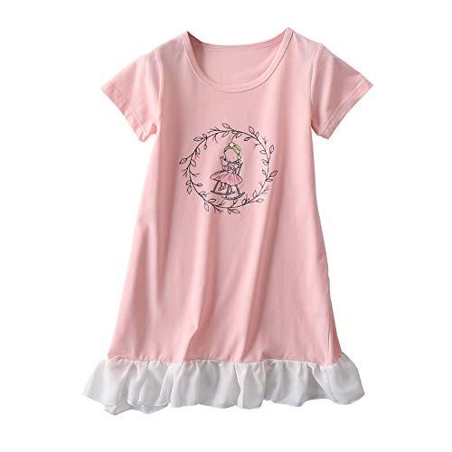 JWWN Little Girls Princess Nightgrown Cotton Sleepwear Kids Pajama Dresses (Pink,6T)