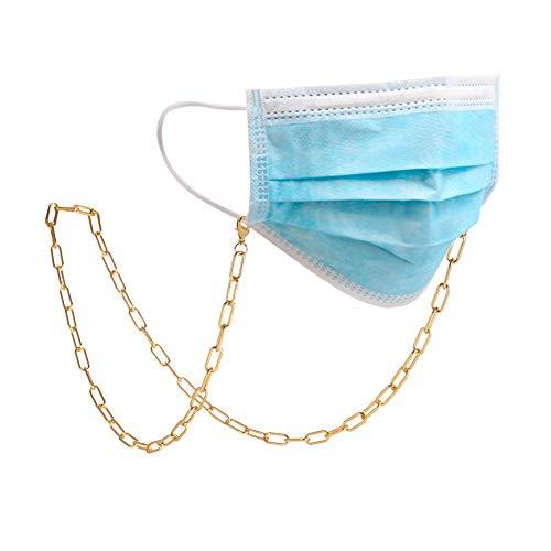 Amaxer Cadena de gafas para mujer, oro rosa, clip de papel dorado y plateado, para hombres (tono dorado, 3)